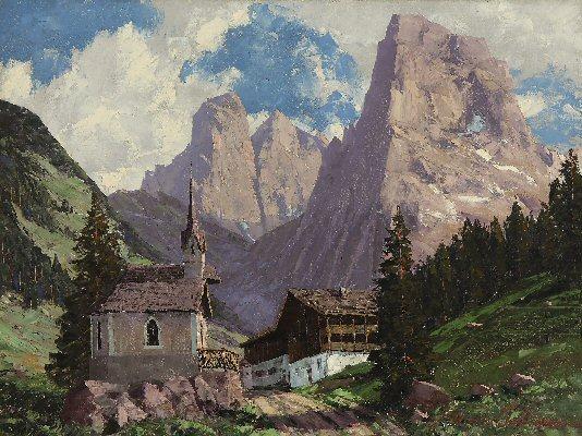 (Gasthaus Hinterbärenbad presso Ebbs, frazione di Kufstein Tirolo. Veduta alpestre estiva, chiesett
