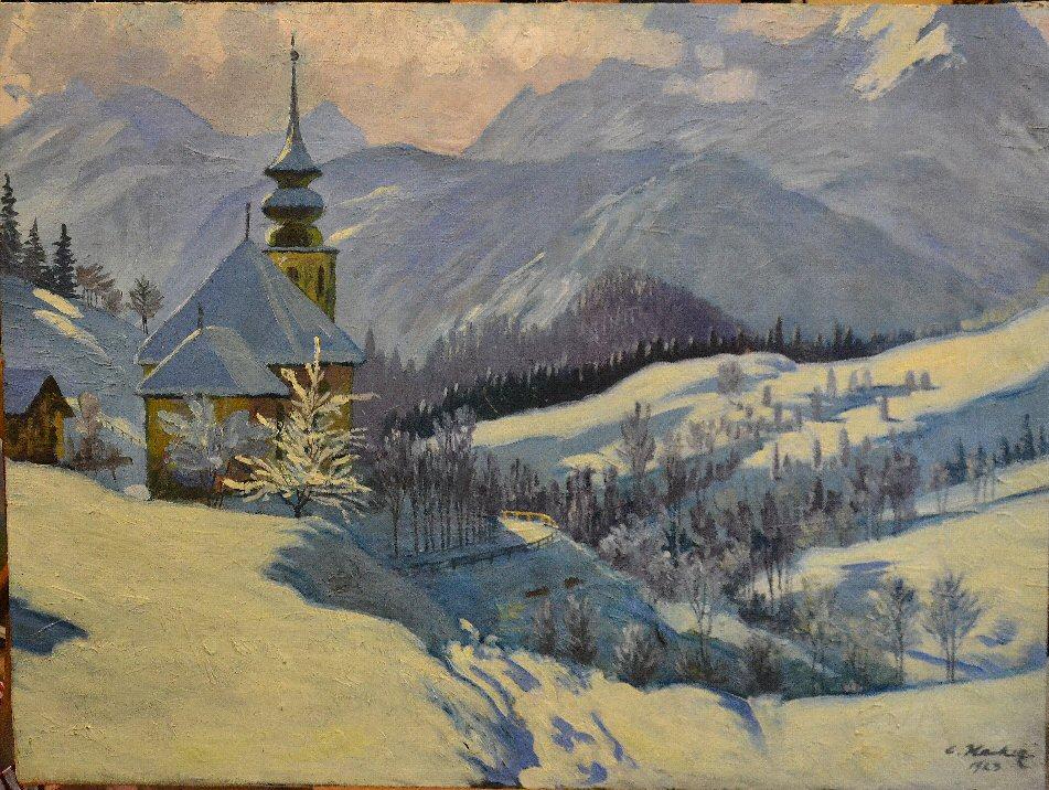 (Veduta invernale, località non identificata in Baviera)