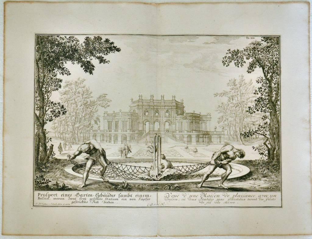 Prospect eines Garten-Gebaudes… / Vue d'une maison de plaisance avec un bassin…