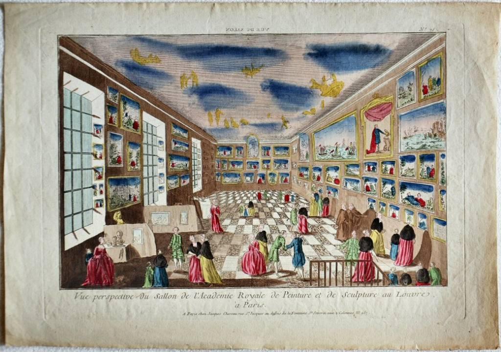 Vue perspective du Sallon de l'Academie Royale de Peinture et de Sculpture au Louvre à Paris
