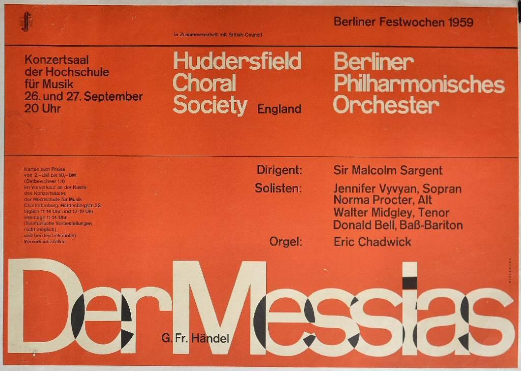 Berliner Festwochen 1959. Der Messiah. Huddersfield choral society & Berliner Philarmonisches