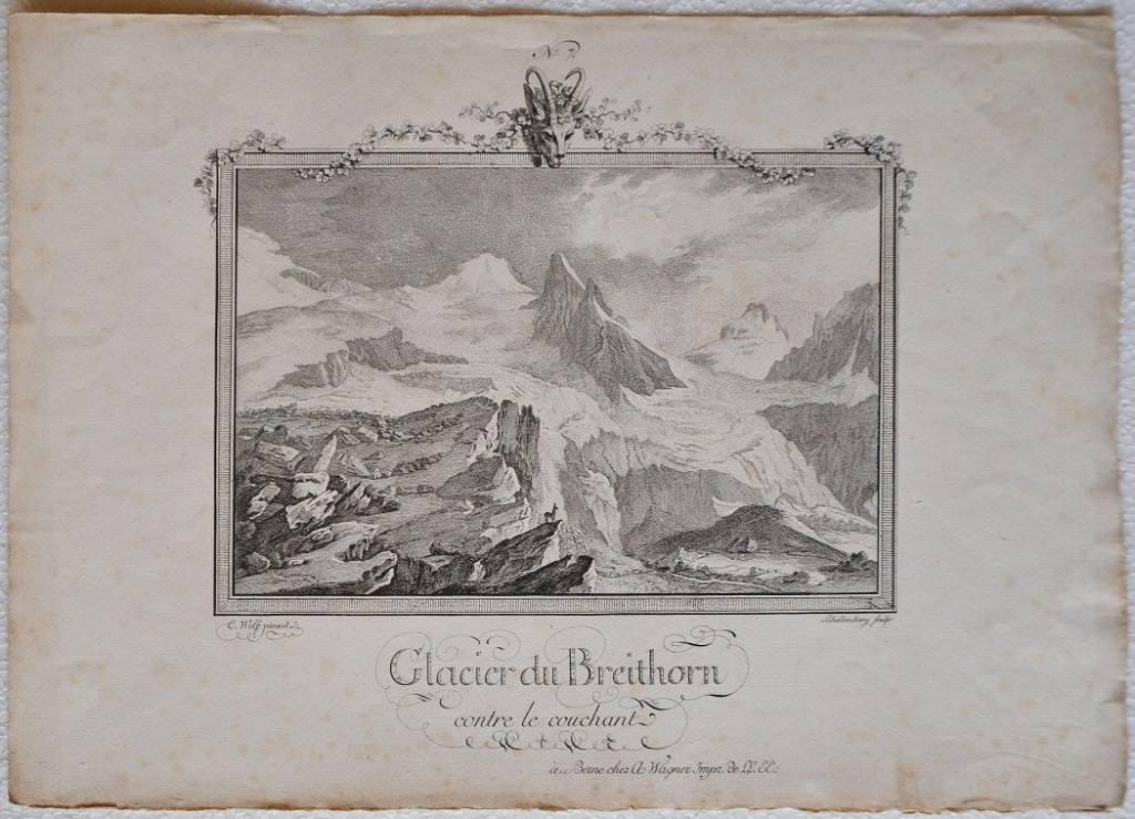 Glacier du Breithorn contre le couchant