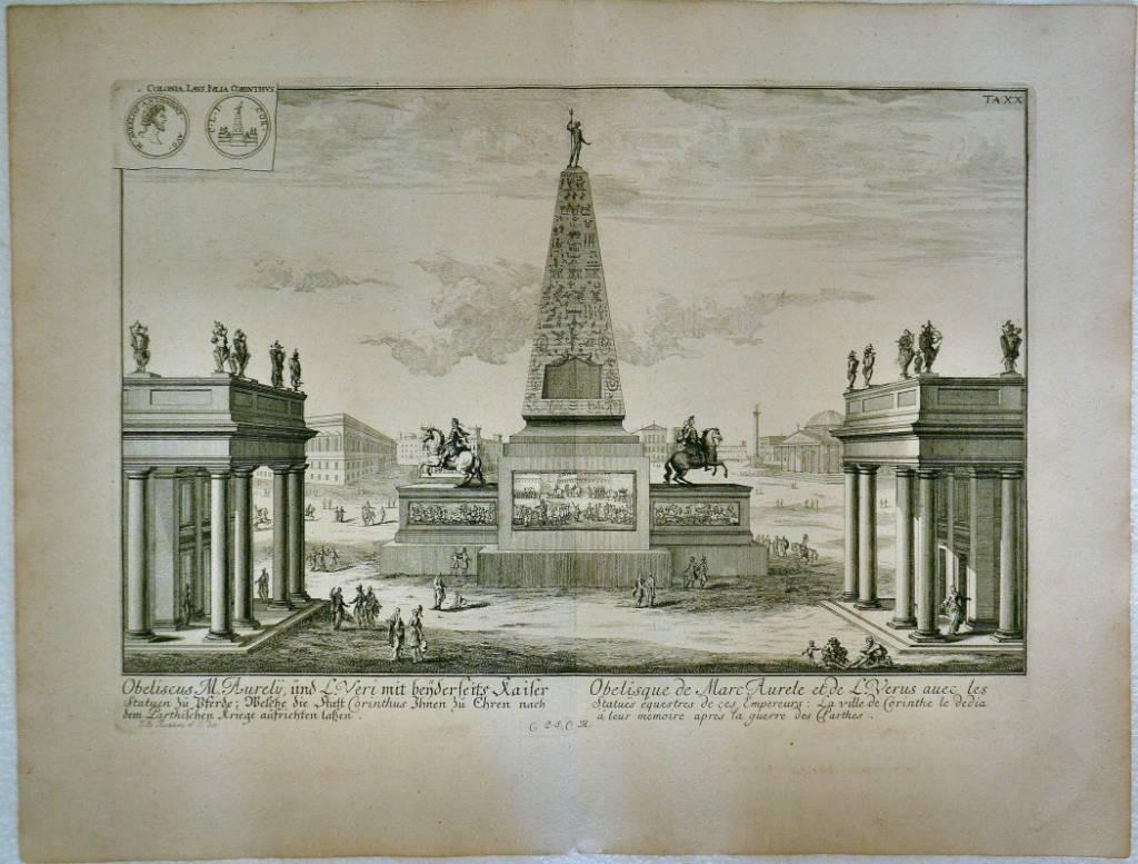 Obeliscus M. Aurelii und L.Veri… / Obelisque de Marc Aurele et de L.Verus avec les statues…
