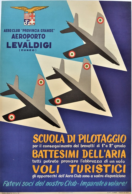 Aeroporto di Levaldigi (Cuneo). Scuola di pilotaggio. Battesimi dell'aria…